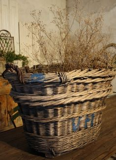 Reims, France, Baskets used in the grape harvesting in the Champagne area Reims, France Circa by rachelpp Old Baskets, Vintage Baskets, Wicker Baskets, Bread Baskets, Laundry Baskets, Bountiful Baskets, Photo Deco, Shabby Chic, Crates