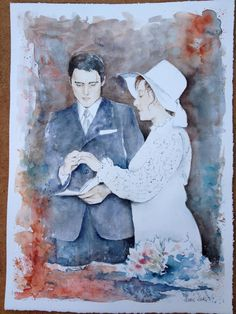 """4 ottobre 1970 "" Watercolor  My parents ! #watercolor#acquerello"