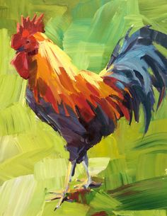 Rooster painting by Patti Mollica - Follow along to her free video lessons: http://www.strathmoreartist.com/artist-studio/groups/workshop-2-2015/forum/