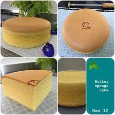 Butter Sponge Cake Recipe adapted from Ennety's Butter Chiffon Cake Ingredients:- 60g salted butter 85g AP flour 1/4 tsp baking powder 4 egg yolks (from 60g eggs) 60g milk 1 tsp vanilla extra…