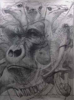 "Quentin Garel, Palimpseste IX (Gorille), 2014, Charcoal on paper, 79"" x 59"" #Art #Contemporary #Drawing #BDG #BDGNY #Gorilla"