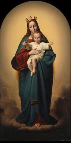 Mary, Queen of Heaven, with the Christchild  by Ernst Deger (1809–1885)