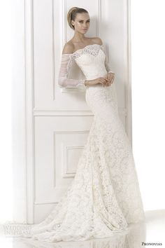 pronovias atelier bridal 2015 kampara off shoulder long sleeve wedding dress