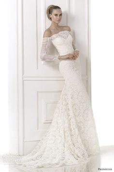 Pronovias Atelier #bridal 2015: Kampara off shoulder long sleeve #wedding dress #weddinggown #weddingdress