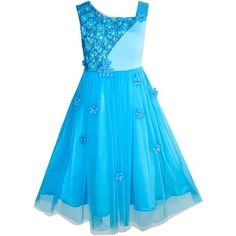 Flower Girls Dress Dimensional Flower Wedding Party Pageant Size 5-14 Years
