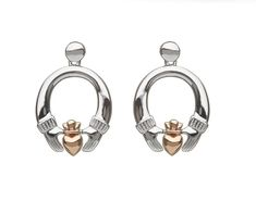 House of Lor irish Gold Sterling Silver Claddagh Stud Earrings Heart Face, Irish Jewelry, Claddagh Rings, Winter Sale, Two By Two, Cufflinks, Fashion Jewelry, Rose Gold, Stud Earrings