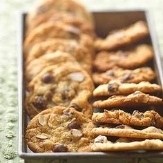 Almonds and bittersweet chocolate give a new twist to this chocolate chip cookie.