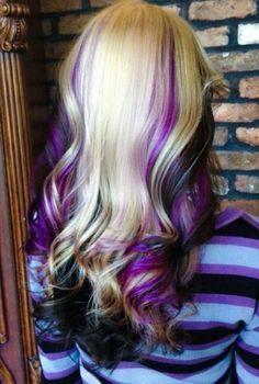 Blonde, purple & black hair hair hair styles, dyed hair, balayage h Purple Black Hair, Hair Color Purple, Cool Hair Color, Hair Colors, Purple Streaks, Gorgeous Hair, Beautiful, Julianne Hough, Colorful Hair