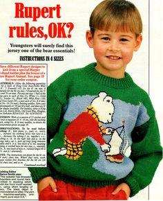 Vintage Childrens 'RUPERT the BEAR' Motif by TheAtticofKitsch Knitting Patterns, Crochet Patterns, Womans Weekly, Knitting Magazine, Yarn Bombing, Retro Toys, Vintage Knitting, Christmas Sweaters, Knit Crochet