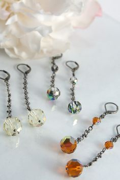 Vintage amber Swarovski crystal gunmetal drop earrings.
