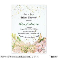 Pink Green Gold Romantic Succulent Bridal Shower