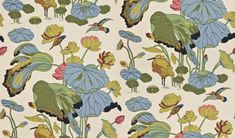 Nympheus (BW45033/1) - G P & J Baker Wallpapers - Kingfishers flying above an egret who shelters beneath drooping lotus leaves. Shown in the original colour way - more colours are available. Please request a sample for true match.