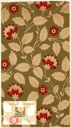 """""""This chintz wallpaper was produced in about 1870 by an unidentified manufacturer. This particular wallpaper is machine printed using distemper, which is a kind of paint used in the late nineteenth and early twentieth century. The simple stylised flattened pattern of flowers and leaves on trailing stems used here was popular in the mid-Victorian period."""""""