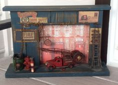 Vintage Wooden Plaque with Antique Metal Fire Truck Accessories | eBay **#SOLD*** Stop by #e_babyji for additional great #gift ideas.