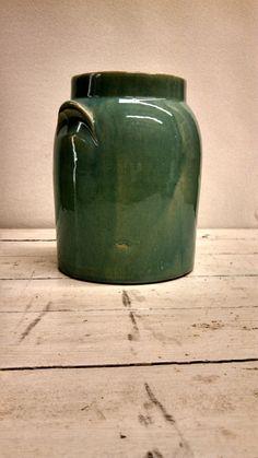 Blue Stoneware Crock Salt Glaze Vase Storage by MustyFurnitureCo