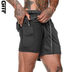 Men's 2-in-1 Fitness Shorts Bodybuilding Training, Bodybuilding Workouts, Fitness Man, Training Fitness, Workout Fitness, Sports Training, Fitness Routines, Athlete Workout, Fitness Sport