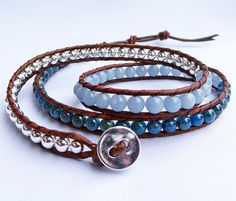 Apatite and angelite gemstone and silver bead brown leather bracelet #angelite #apatite #blue