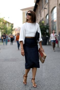 Office dress code ideas of pairing a pencil skirt with a formal top. Office outfit with a super cute scalloped top and a classic pencil skirt with cool colours.