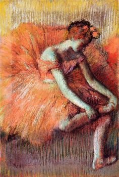 Page: Dancer Adjusting Her Sandel Artist: Edgar Degas Completion Date: Style: Impressionism Genre: genre painting Technique: pastel Gallery: Private Collection Edgar Degas, Pierre Auguste Renoir, Manet, Claude Monet, Degas Paintings, Degas Drawings, Kunst Online, Art Ancien, Dance Art