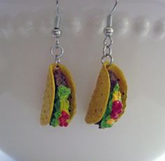 Mini Food Jewelry - Taco Dangle Earrings - Surgical Stainless Steel - Food Earrings