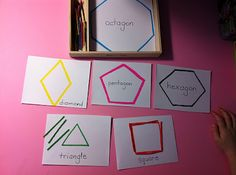 Montessori Shape Tray Activities.  Learning shapes' numbered sides.  --  Creative Curriculum GOLD objectives 7a, 11a, 11b, 12b, 13,  21b
