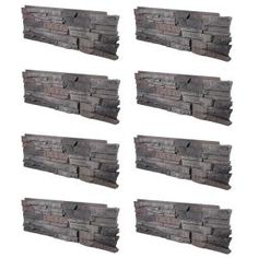 GenStone Stacked Stone Kenai 12 in. x 38 in. Faux Stone Siding Corner Panel Right Gray Base With Charcoal And Copper Highlights Stone Siding Panels, Faux Stone Siding, Faux Stone Veneer, Dry Stack Stone, Copper Highlights, Stone Interior, Decks And Porches, Dog Houses