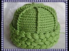 Knit crochet - cap with a lapel of lush . Crochet Socks Tutorial, Crochet Beanie Hat Free Pattern, Crochet Hooded Scarf, Bonnet Crochet, Crochet Baby Beanie, Crochet Beret, Baby Hats Knitting, Crochet Stitches, Knitted Hats
