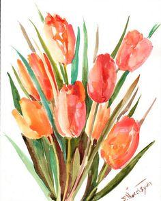Orange Tulips Original watercolor paitnign 14 X 11 by ORIGINALONLY, $42.00