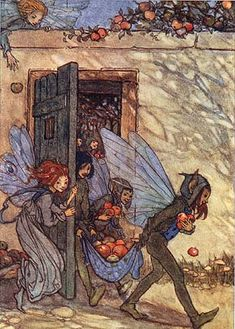 """Fairies Harvest Greeting Card  Artist: Florence Harrison  From the book """"The Elfin Song"""" circa 1912."""