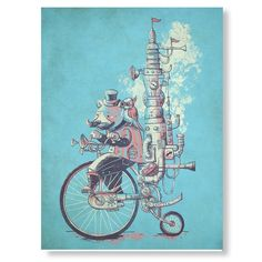 Steampunk Print Small, Bear Bicycle Art Print 8 x 10, Surreal Bear Print, Funny Animal Wall Art, Fan