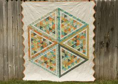 Hexagon Quilt Back by from the blue chair, via Flickr