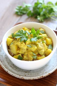 Slow Cooker Yellow Chicken Curry: a thai-style coconut curry with moist bites of chicken, tender bites of yellow potatoes, vibrant turmeric and curry powder all made easily at home in your slow cooker.