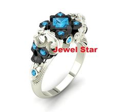 4.10Ct Sky Blue Diamond Solitaire Skull Engagement Ring 925 Sterling Silver NEW #JewelStar #Braided