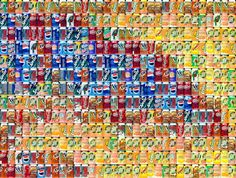 Detail from Chris Jordan's Cans Seurat, to be shown in the virtual world of Second Life