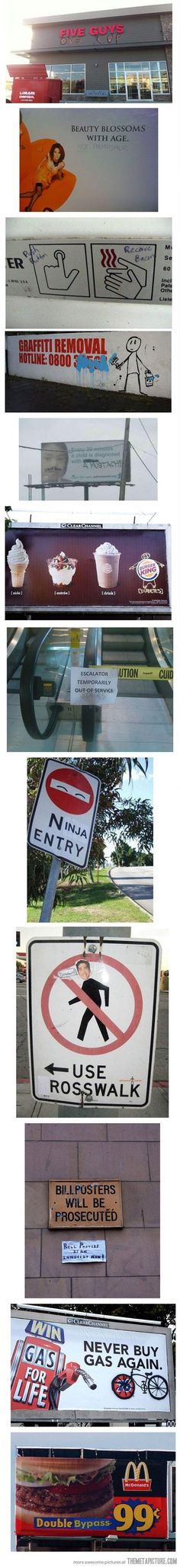 Signs improved by graffiti