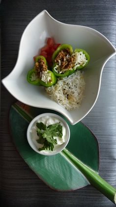 Cooking Greek - Yemista. Rice and ground beef stuffed peppers with Lemon Parsley Yogurt © Recipe and photo Khadeejah Raja