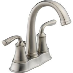 Delta�Lorain Stainless 2-Handle 4-in Centerset WaterSense Bathroom Sink Faucet (Drain Included)
