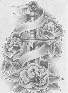 Drawing Roses unique Meaningful Tattoos - Roses and sword tattoo - Meaningful Tattoos Image Description Roses and sword tattoo Band Tattoos, Ribbon Tattoos, Neck Tattoos, Flower Tattoos, Arm Tattoo, Body Art Tattoos, Sleeve Tattoos, Tattoo Ink, Sword And Rose Tattoo