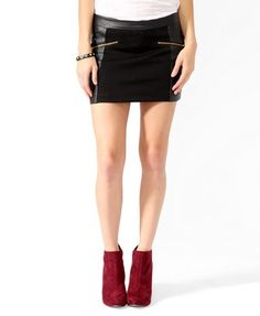 This one's too short for a woman my age ... NAH! I can wear it somewhere dark :o)  Zippered Faux Leather Panel Skirt | FOREVER21 - 2019570914