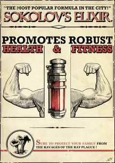 Health & Fitness Elixir in-game poster from Dishonored, the latest new IP from Bethesda #game #videogame