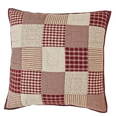"Our Cheston Patchwork Quilted Euro Sham 26x26"" is a lovely patchwork pattern in coordinating fabrics of checks, plaids, ticking stripes, and, vintage prints.  The back is a solid burgundy fabric with buttons to conceal the pillow. http://www.primitivestarquiltshop.com/Cheston-Patchwork-Quilted-Euro-Sham-26x26_p_10028.html"