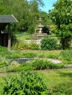 De fontein gehuld in de gloed van natuurlijk groen