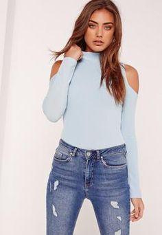 be31705d841 Ribbed High Neck Cold Shoulder Bodysuit Blue Ribbed Bodysuit