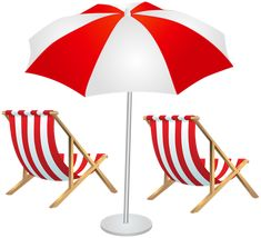 Beach Chairs And Umbrella PNG Clip Art Image