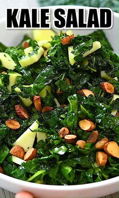 Cooked Kale Recipes, Kale Salad Recipes, Spinach Recipes, Vegetable Recipes, Vegetarian Recipes, Cooking Recipes, Healthy Recipes, Kale Salads, Best Kale Salad Recipe