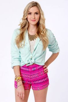Woven fushia tribal shorts  Get 7% Cash Back http://www.studentrate.com/itp/get-itp-student-deals/lulu-s-Student-Discount--/0