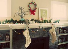 Pretty decorations + fireplace.