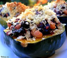 Acorn Squash Stuffed with Chard & White Beans Drizzled with Agave Nectar