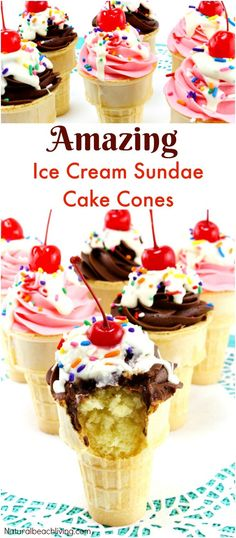 How to Make Amazing Sundae Ice Cream Cake Cones, Make delicious cupcake cones for July Summer treat, a kids party. Easy Cake Cone Recipe that is Yum! (school snacks for kids how to make) Cupcake Torte, Sundae Cupcakes, Ice Cream Cupcake Cones, Cupcake Boxes, Cupcake Wars, Cupcake Cookies, Donut Hole Recipe, Cake In A Cone, Banana Split Dessert