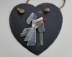 Unusual Wedding Gift for the Couple, Pebble art Bride and Groom Sea Glass Bride Summer Wedding Present on a Slate Heart Creative Wedding Gifts, Wedding Day Gifts, Bride Gifts, Creative Crafts, Wedding Bride, Wedding Dress, Pebble Pictures, Stone Pictures, Rock Crafts